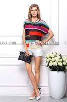 Hot Sale Fashion Vintage Striped Print Pattern Chiffon Blouse Women short Sleeve Shirt Tops 1 Color Drop Shipping top fashion 01