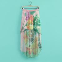 Hottest Fashion Women Summer autume Pleated Skirt flower Color Ladies natural Waist long Skirts Plus Size Asymmetrical chiffon