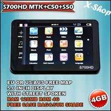 X-SHOP S700HD MTK+C50+S50 navigator 5 inch 4GB EU/US MAP  CASE BAG&SUN SHADE Touch Screen, Mp3/Mp4, Photo Viewer,vehicle gps