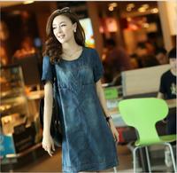 Summer Dress 2014 Women's Denim Dress Pleat Jeans Half Sleeve Plus Size Dress M- XXL Denim Jacket Casual Dress For Lady