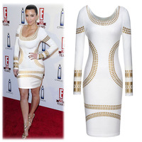 Above Knee Celeb Pencil Bodycon Dress Long Sleeve Gold Stamping OL / Party Dresses Women Slim vestidos New in 2014 Autumn