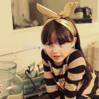 Hot Sale 10pcs Cute Rabbit Ears Solid Hairbands For Girls Kid Headbands Fashion Children Fabric Headwear  Free Shipping
