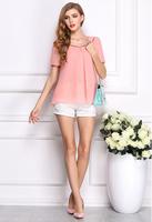 6 sizes 2014 New White Shirt Women blouses casual Wear short Sleeve Tops Slim Women's Blouses & Shirts 8 colors