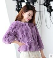 2014 winter New Rabbit fur coat round neck women jacket luxury overcoat warm thicken cardigans coat casual clothing