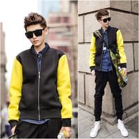 Softshell jacket coats men fashion hip hop neoprene baseball jackets black patchwork yellow sleeve casual jacket coat Nora10571