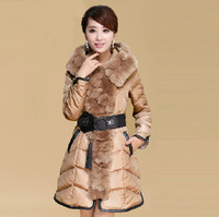2014 winter Rex ovo collar temperament Slim Down padded belt long section women luxury overcoat warm thicken casual clothing