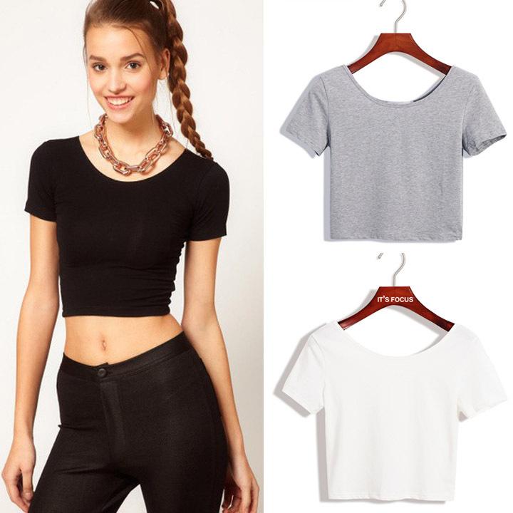2014 New Women Best Sell U neck Sexy Crop Top Ladies Short Sleeve T Shirt Tee Basic Stretch T-shirts(China (Mainland))