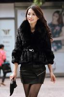 2014 winter fox fur collar fur stitching Rex ladies wool coat women luxury overcoat warm thicken cardigans casual clothing