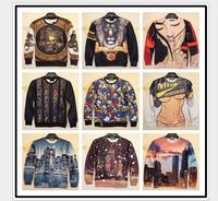 2014 newest style men's sweatshirt Animal/fruit/character printing 3D sweatshirts for men thin hoodies free shiping