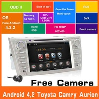 Pure Android 4.2 Car DVD Automotivo Styling FOR Toyota camry Aurion 2007 2008 2009 2010 2011 w/GPS Navi 3g WiFi Radio BT Audio