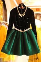Free shipping 2014 autumn new women elegant long sleeves high-waist velour beading ball-gown dress,girl dress