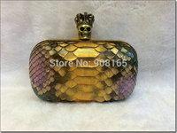 free shipping short style Luxury Genuine leather women handbag snake skin skull Crown women clutch BLT006
