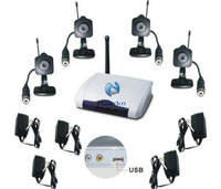 2.4G Wireless 4 Cameras 4 CH Vdieo CCTV Home Security Surveillance USB DVR Camera System w/RC Motion Detection Mini Camcorders