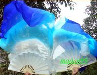 1 Pair(Left+Right) 100%Silk belly dance fan veil White/blue/dark blue(1.5m