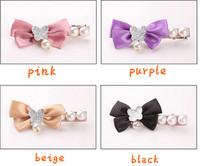 South Korea headdress new bow pearl hair pins,12pcs/lot