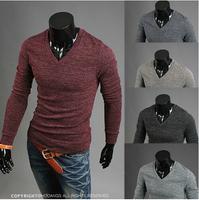 2014 HOT new Fashion Korea slim men's Sweaters long sleeve mens Sweaters v neck mens Sweater Red wine 1042