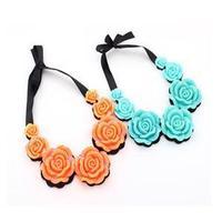 2014 New Elegant Lace Women Necklace Fancy Large Rose Flower Charm Pendant Necklace
