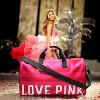 Promotion 2014 Hot Victoria   love pink Diamond  Large Travel  Striped Bag Beach Bag  Work Shoulder  Bag  Shopping Bag Vs  a1002