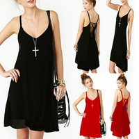 Sexy Womens Summer Dresses Casual Vestidos Hollow Spaghetti Strap Solid Bandage Dress Free Shipping WCDR8599