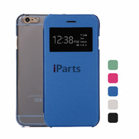 2014 Lastest Window Smart View Hybrid Magnetic Flip Leather Cover with Crystal Clear Back Case Skin for iPhone 6 4.7