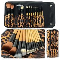 professional 12pcs makeup brush set tools make-up toiletry kit wool brand make up brush set case free shipping CZ009