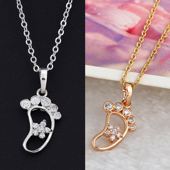 FEN Free Shipment Popular Girls Love Cute Foot With Shiny Flower Shaped Pendant 18K Gold Plated
