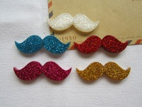 Free Shipping! Min. order is $10 (mix order), Resin Glitter Kawaii Moustache, Resin Cabochons for Hair Bow Center, DIY (43*14mm)