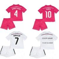 Soccer Jerseys Real Madrid Kids Pink 2015 Bale KROOS JAMES Rodriguez Real Madrid Kids Female RAMOS Ronaldo Baby Uniform Children
