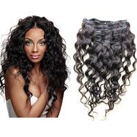 5A Unprocessed Brazilian Virgin Hair loose wave Clip in human hair Extensions 120g 7pcs/set Brazilian body wave Natural black