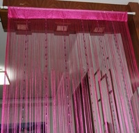 Romantic Solid Color Fringe Door Curtain Drape String with Bead Chain 1X2M (Rose Red) Free shipping