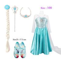 Kids Baby Girls Princess Dress Frozen Elsa Girl Dresses,Frozen Set(Dress+Shoes+Wig+Crown+Magic Wand)Elsa Anna Princess Dress