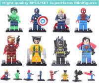 8PCS/SET  Thor Batman SurperMan Hulk X-man New Super hero Block/Aliens Toys DIY building block doll for children Christmas gift