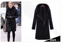 2014 New women coat Fashion Fur trench coat long sleeve Personality oblique zipper warm overcoat women's long wool winter coats