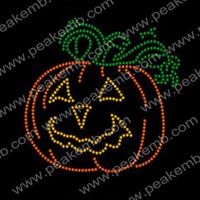 Free Shipping 50Pcs/Lot Custom Pumpkin Rhinestone Iron On Transfers Bling Stones Hotfix Motif For Halloween Decoration