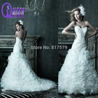 Buy Sweetheart Neckline Heavy Beaded Top Bodice Ruffles Mermaid Wedding Dress in China