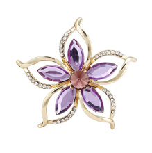 Fashion Hot Sale Cheap Purple Flower Brooches For Women Wedding Bouquet