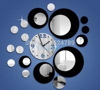 Bicolor Acrylic 3D large round craft mirror wall clock circle clocks wall Stickers mirror relogio de parede home decoration