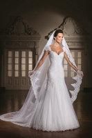 2014 Vintage V Neck Off the Shoulder Appliqued Vestido de noiva Mermaid Wedding Dresses with detachable Train