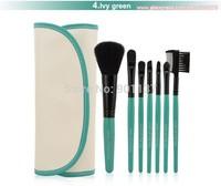 gifts 7pcs professional portable makeup brushes make-up brush cosmetic set kit tools eye shadow kabuki blush green colour CZ010
