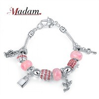 11.11 2014 Latest Romantic pink angel bracelet for women with rhinestone and resin silver plated bracelet jewelry