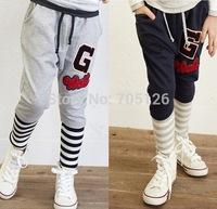 Wholesale Spring Autumn Children Clothing Boys Leisure Trousers Kids Stripe Mosaic Letters Harem Pants 5pcs/lot