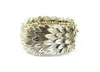 Vintage Bohemian Style Silver Feather Leaves Shape Stretch Bracelet