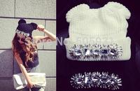 New Panda Ear Crystal Wool Hat Black White Fashion Accessories