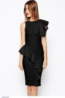 roupas femininas new retro Vestidos women Black Ruffle Brief Party Midi Vintage pencil dress garment 2014 vestido de festa