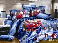 Christmas 100% Cotton 3D Printed Duvet Cover Flat Bed Sheet Pillowcase 4 pcs Santa Claus Bedding Sets Queen Size/King Size