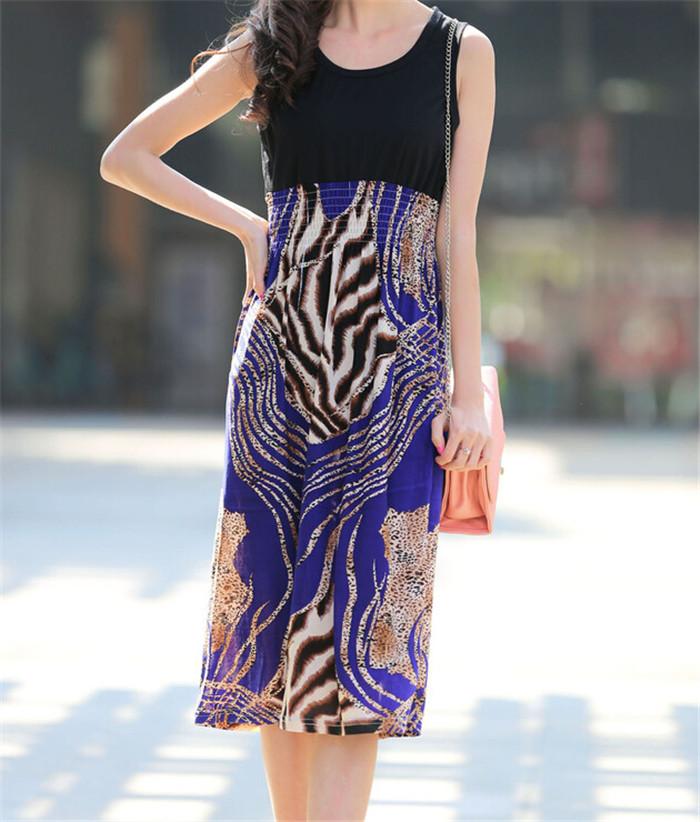 Beach Wear 2014 New Fashion Women Summer Dress Animal Pattern Print Splice Sleeveless vestido Sleeveless Casual Dresses T19-31(China (Mainland))