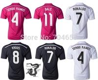 Camisetas SERGIO RAMOS Soccer Jerseys Cristiano RONALDO 14 15 KROOS Shirt JAMES Rodriguez Jersey 2015 BALE White Pink Away Black