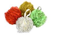 Leopard lace bath ball 55g bath sponge around D14cm  bath flower 10pcs/lot  four colors could mix color