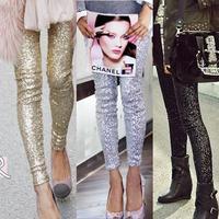Fashion Calca Feminina Autumn Punk Bling Sequin Trousers,Shining Gold Black Silver Spangle Sequin Formal Pants Women leggings