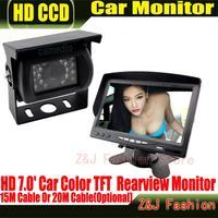 "Hot Selling 18 IR Reverse Camera +NEW 7"" LCD Monitor+Car Rear View Kit car camera BUS And Truck parking sensor Free Shipping"